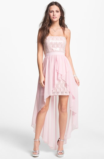 Nordstrom Aidan Mattox Embellished Lace and Chiffon HighLow Dress $285