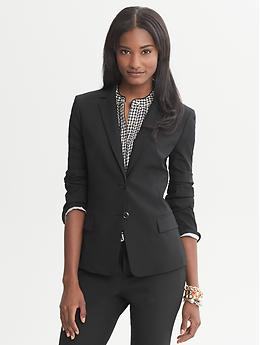 Black Lightweight Wool Two-Button Suit Blazer - Black