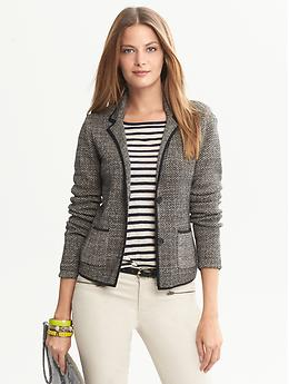 Herringbone Sweater Blazer - Black combo