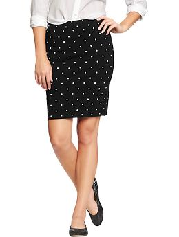 Women's Printed Pencil Skirts - Black Dots