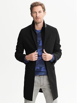 Wool Double-Layer Coat - Black