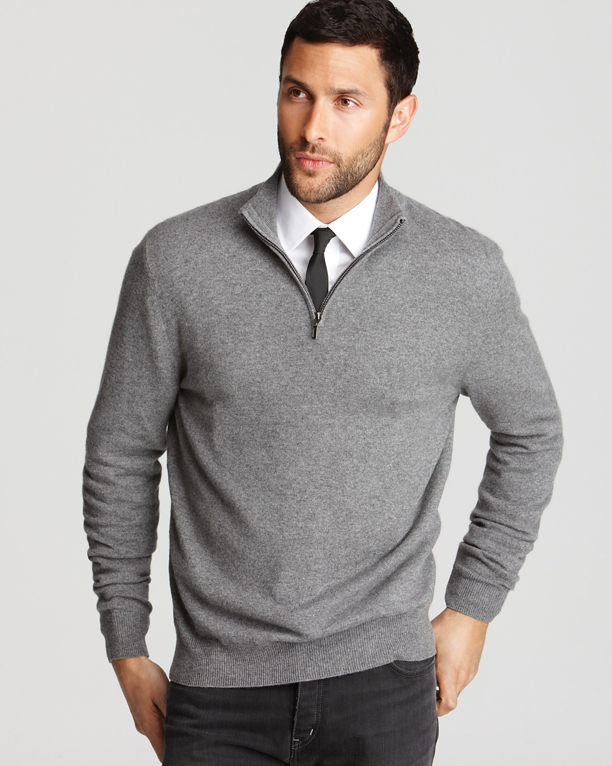 Sweater Over Button Shirt Collar Men Out