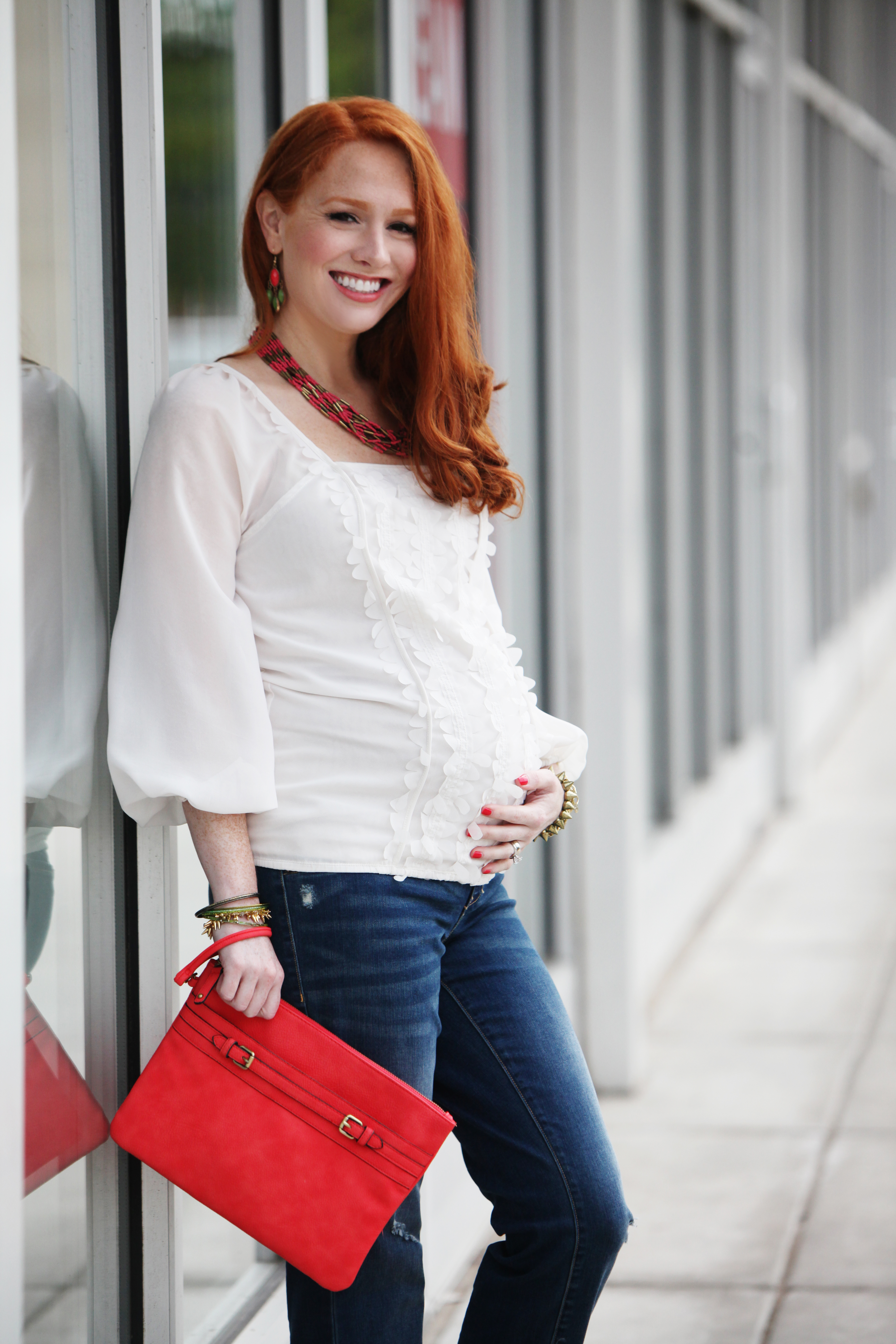 {Outfit Of The Day} Maternity Style: Jeans And Blouse